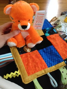 Tiger Plush Toy and Homemade Tab Toy