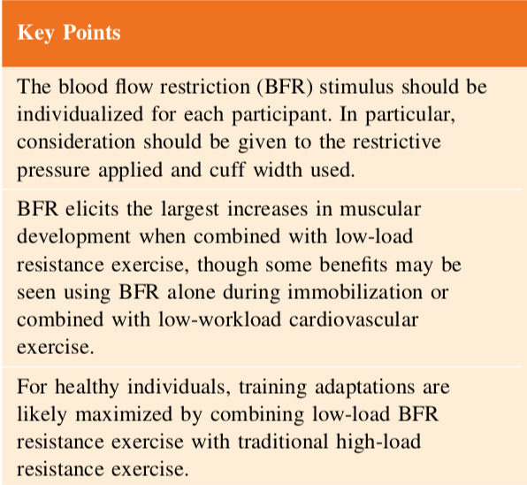 Key Points blood flow restriction