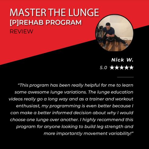 TPG Testimonials - Master the Lunge - Nick W