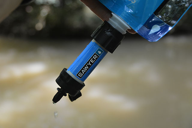 You can use the included sqeeze bag to collect water and the Sawyer will make it safe to drink.