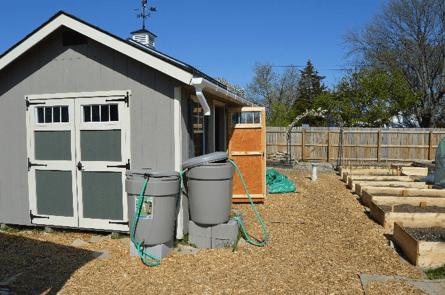 rainwater harvesting with downpipes