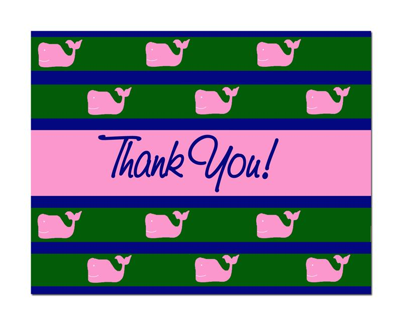 Preppy Princess Thank you whales notecards