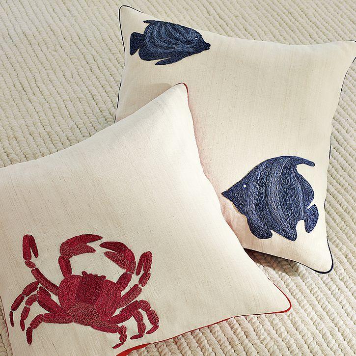 Williams Sonoma Raffia Embroidered Pillows
