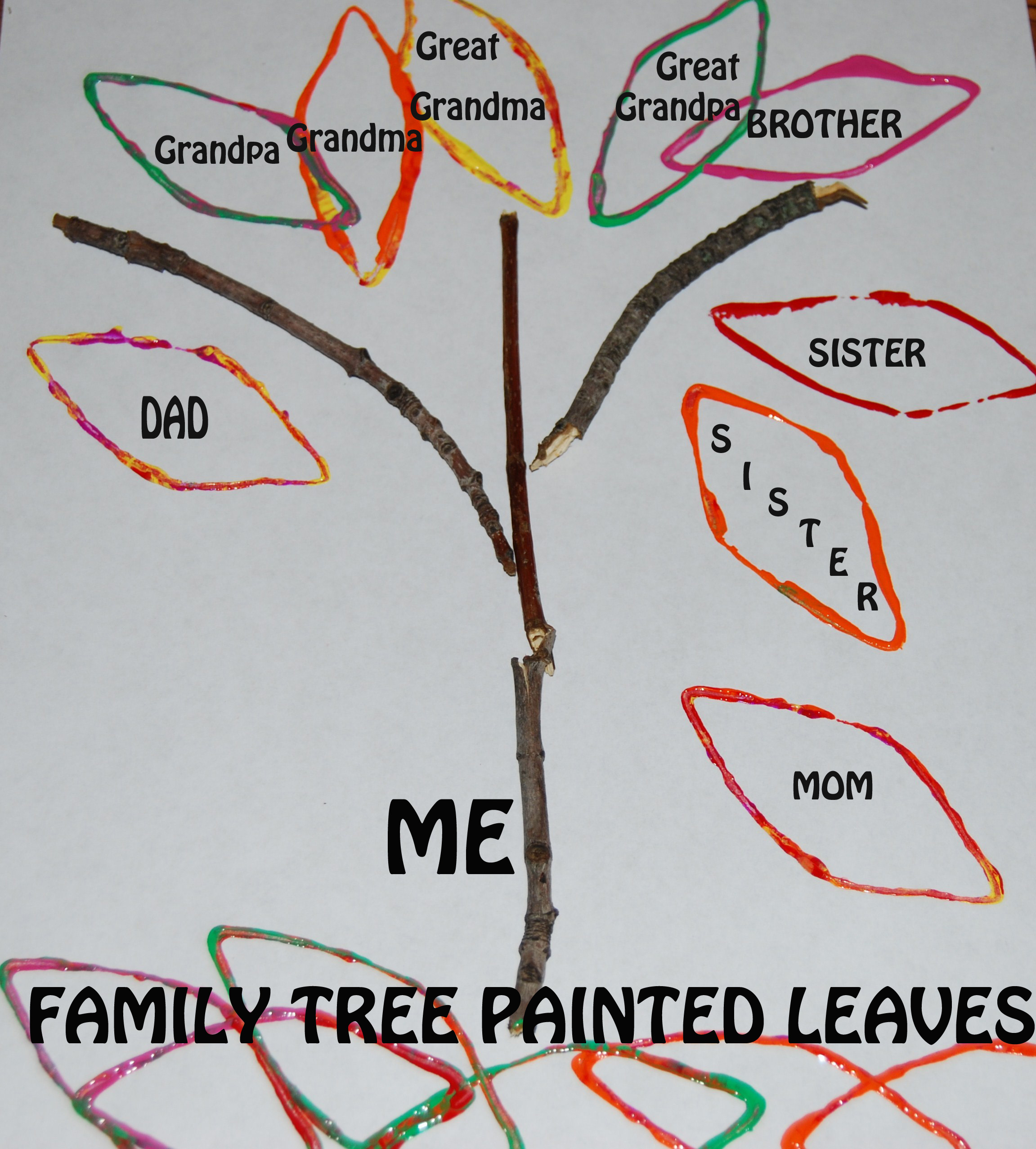 Family Tree Painted Leaves 1 The Preschool Toolbox Blog