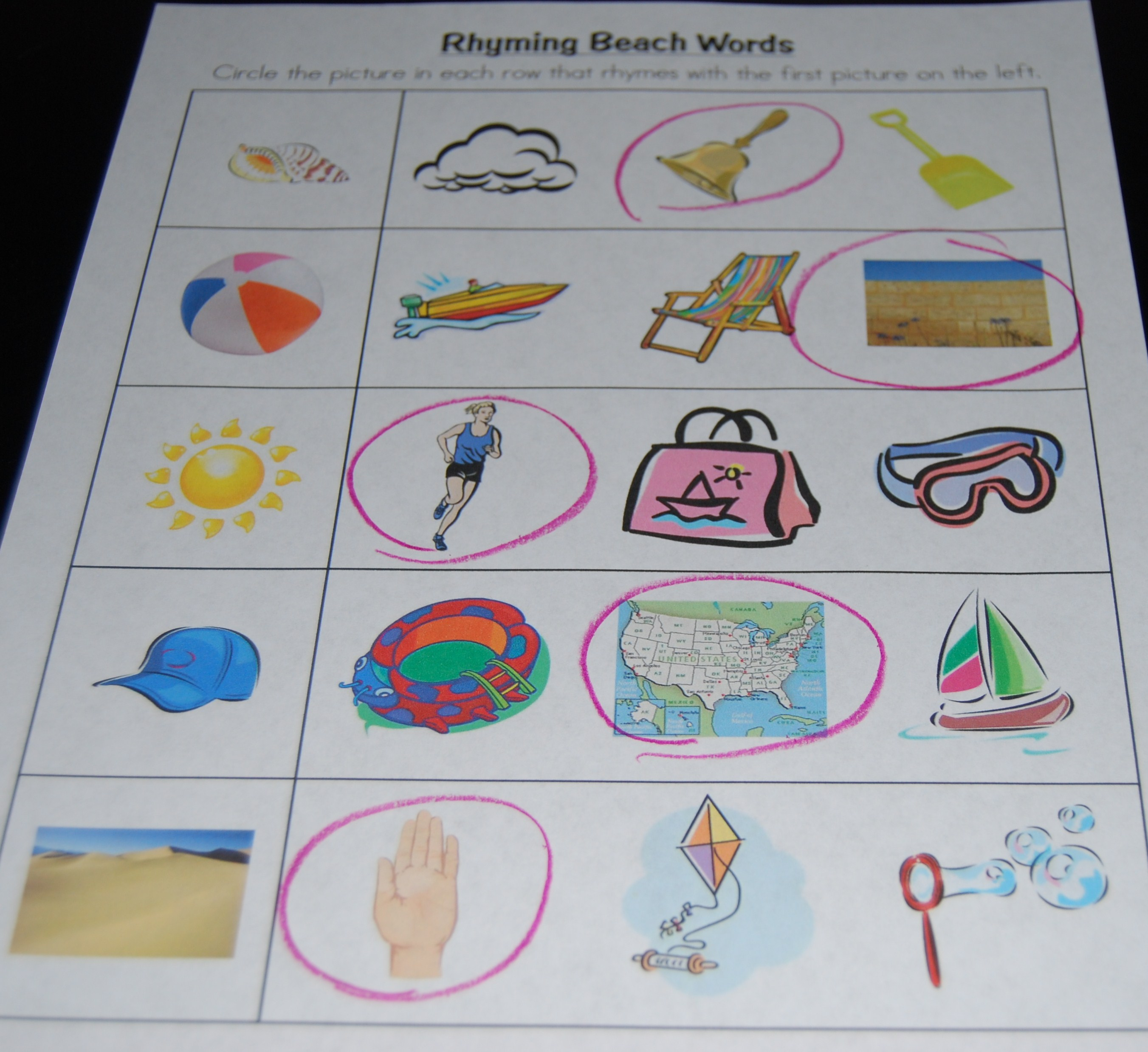 Beach Rhyming Words The Preschool Toolbox Blog