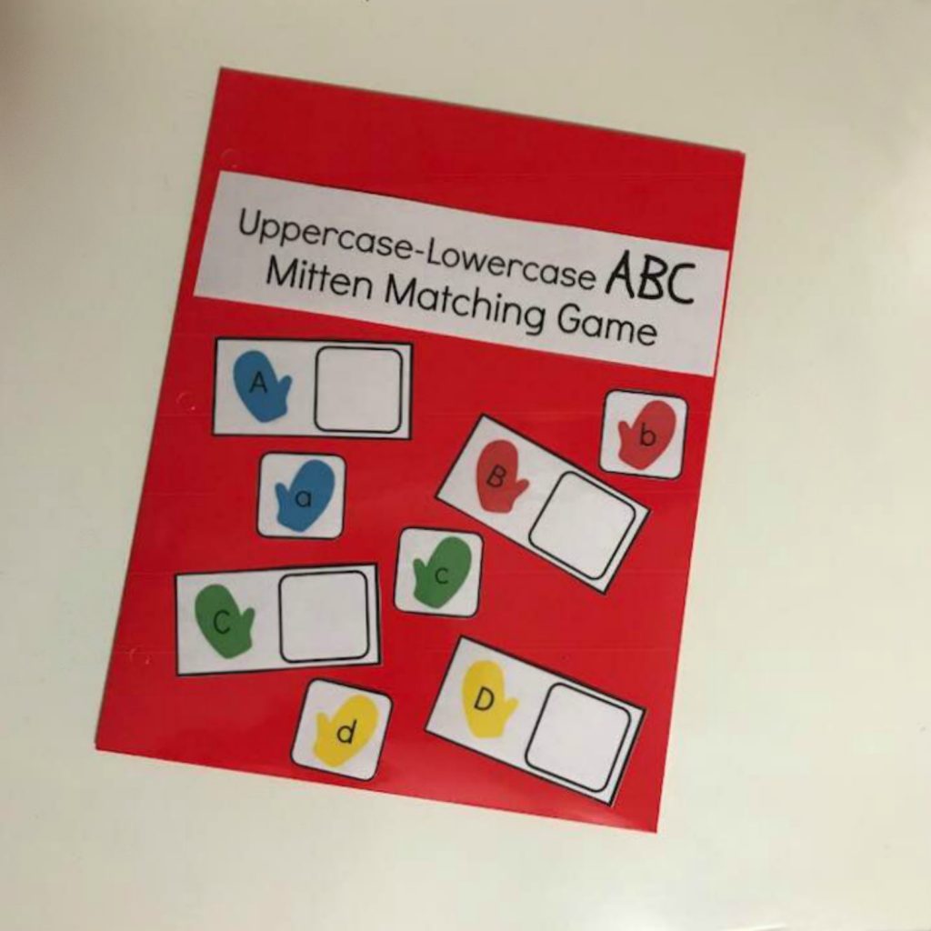 Free Mitten Themed Letter Matching Activity For