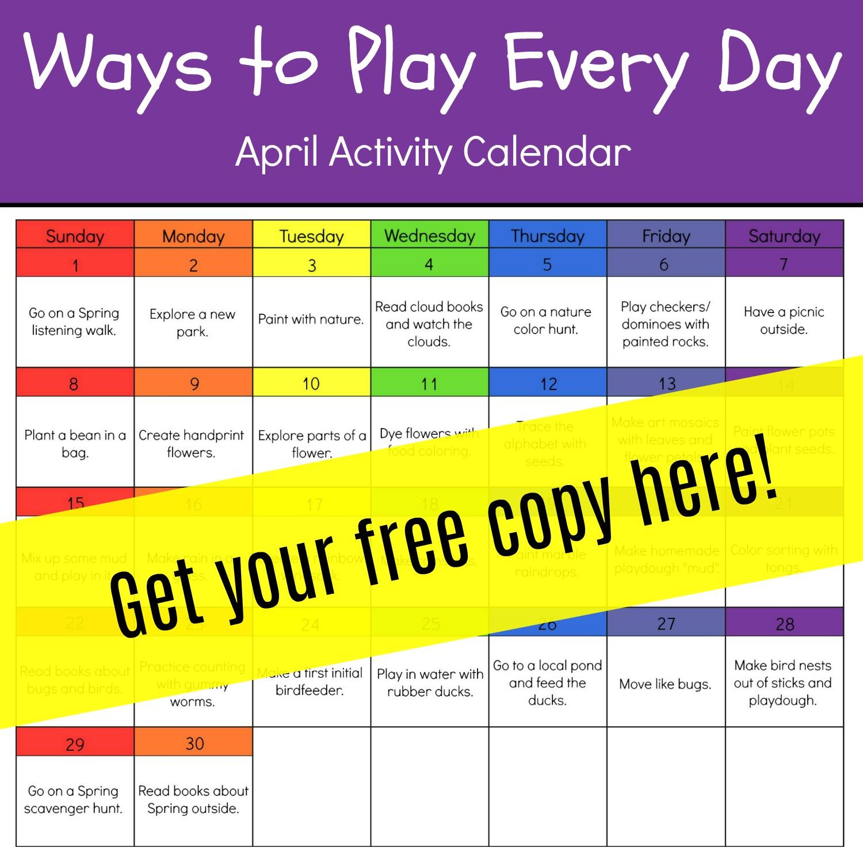 April Activity Calendar For Preschool
