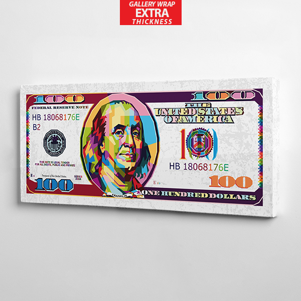 $100 white bill canvas wall art the presidential hustle gallery wrap