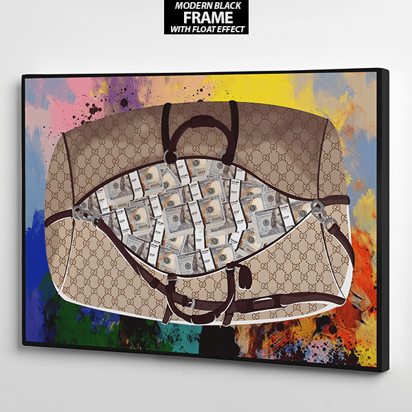 get the bag gucci and dollars canvas wall art the presidential hustle frame