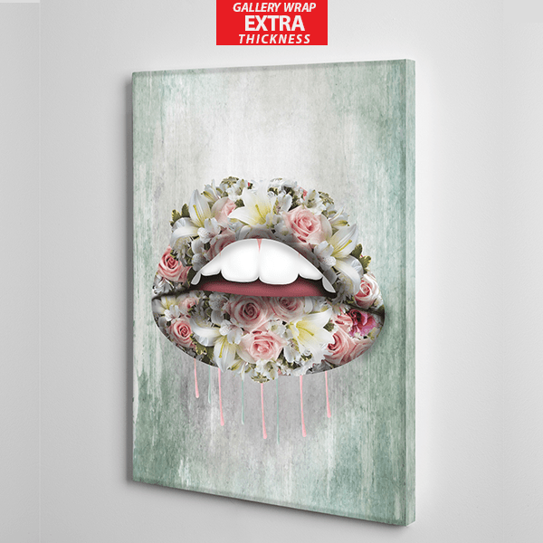 red lips colourful roses canvas wall art the presidential hustle