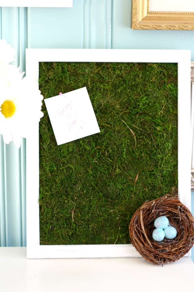 Add some fresh green to your spring decor with this moss bulletin board! Very easy to make! #moss