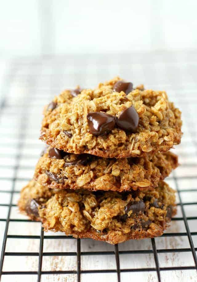 Soft and chewy healthy chocolate chip oatmeal cookies