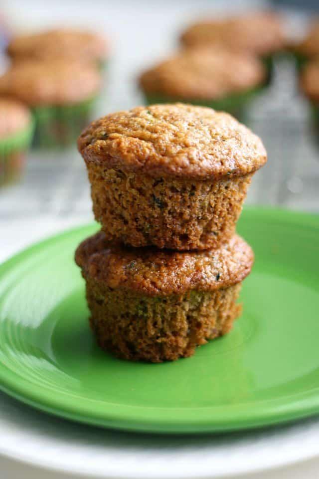 Tender and fluffy vegan zucchini muffin recipe.