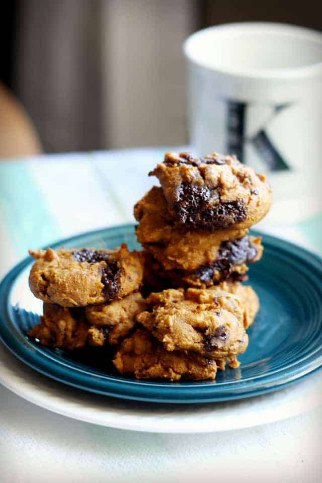 gluten free four ingredent pumpkin chocolate chunk cookie recipe. vegan and dairy free, too!