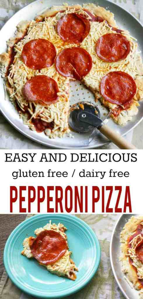 Yes, you CAN enjoy tasty, cheesy, melty, pizza if you are on a gluten free and dairy free diet! This is easy to make and the whole family will love it! #pizza #glutenfree #dairyfree