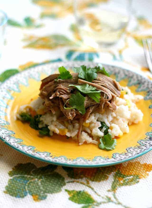 Slow cooker pork with salsa verde and cilantro rice. #crockpot #gf #glutenfree