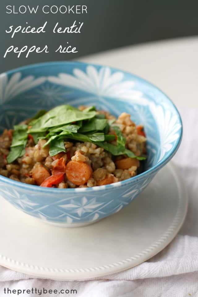 Slow cooker spiced lentil pepper rice #vegan and #glutenfree