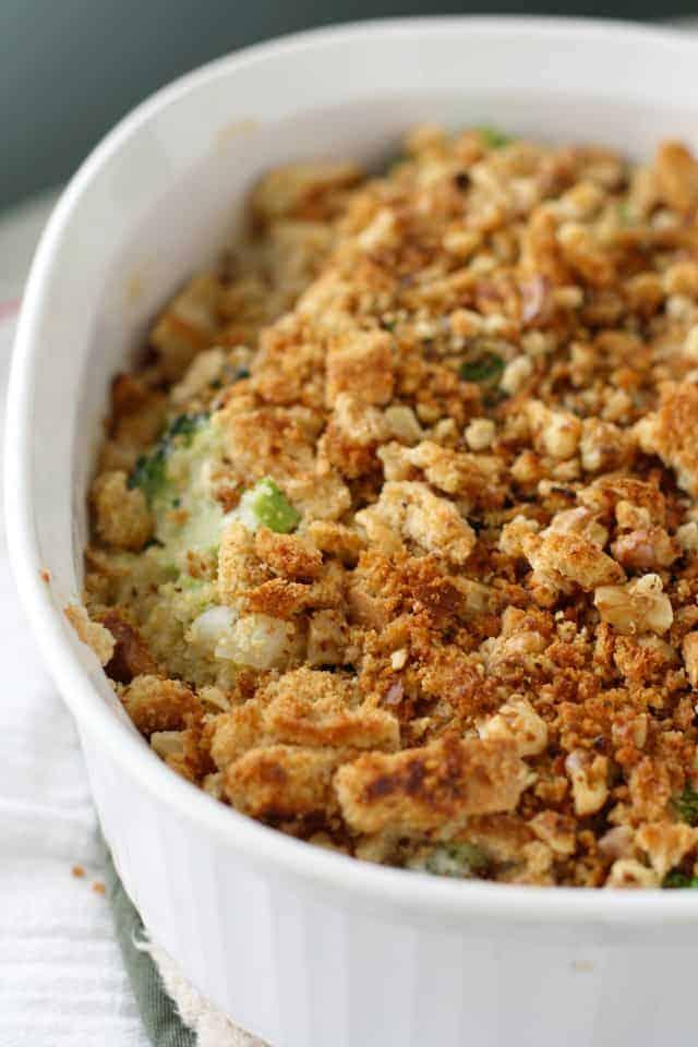 quinoa broccoli casserole with breadcrumbs