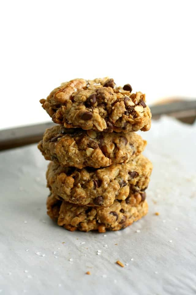 Vegan chocolate chip oatmeal cookies are deliciously thick and chewy and have a sprinkle of sea salt for that sweet and salty flavor!