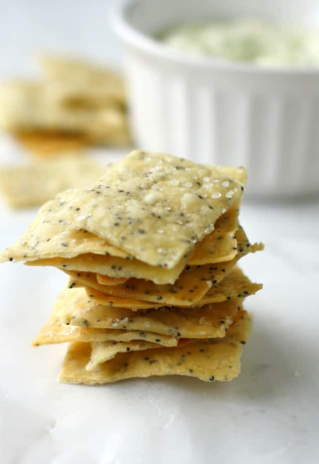 Easy poppy seed crackers are delicious with dairy free chive dip.