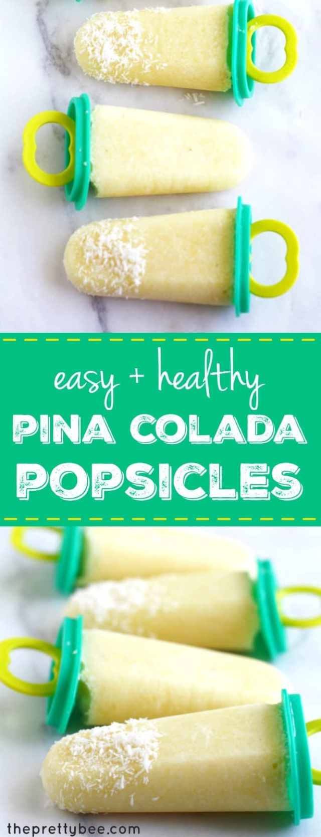 This recipe for pina colada popsicles is a must for summer! Just three ingredients, and so delicious!