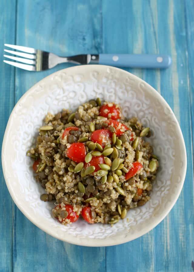 spiced lentil quinoa salad with pepitas