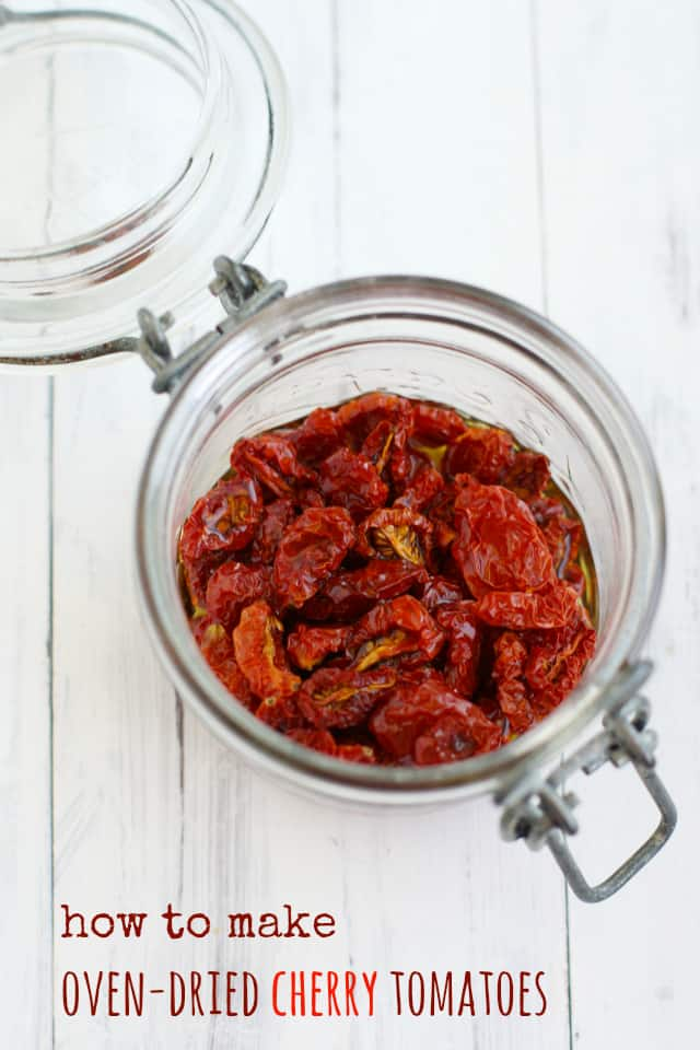 It's so easy to make delicious oven dried cherry tomatoes. These little tomatoes are bursting with flavor and are a great addition to sauces and salads.
