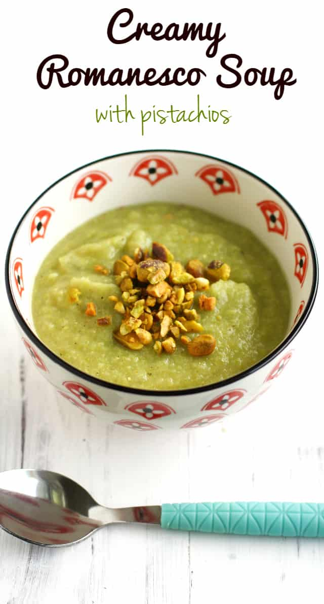 Creamy romanesco soup with pistachios...a great way to use this unusual vegetable! #romanesco