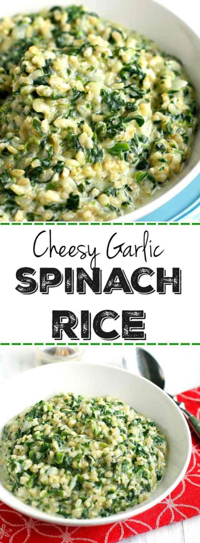 Cheesy garlic spinach rice is a winter comfort food staple! An easy one pot recipe.