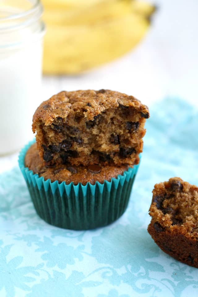 Delicious gluten free and vegan banana muffin recipe. These treats are soft and tender, and are studded with chocolate chips. #vegan #glutenfree