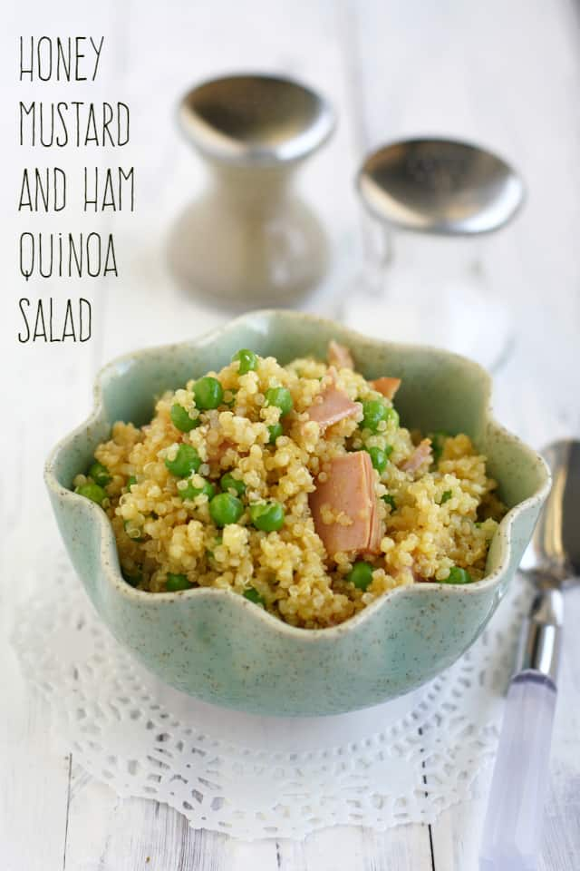 honey mustard quinoa salad with ham and peas