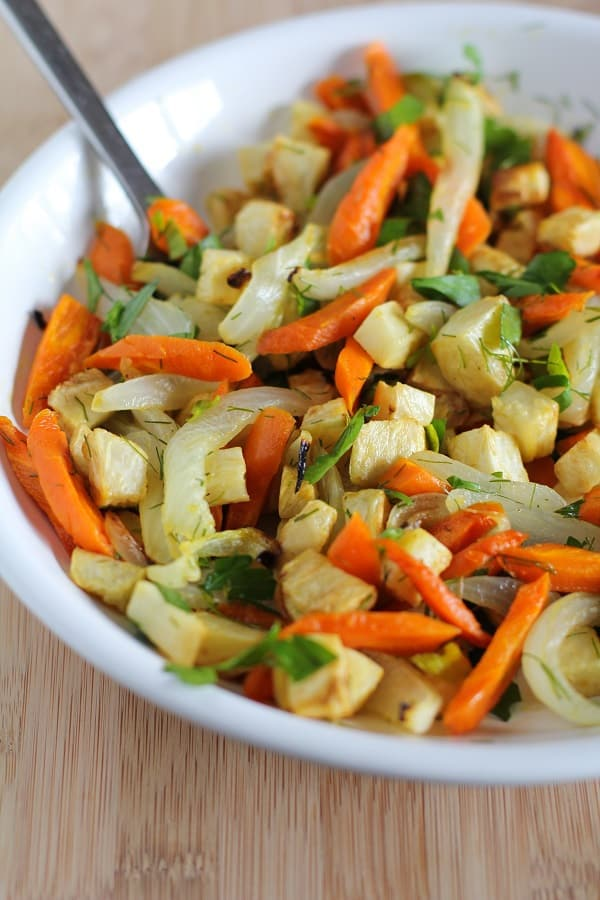 Roasted celery root and carrots from The Roasted Root