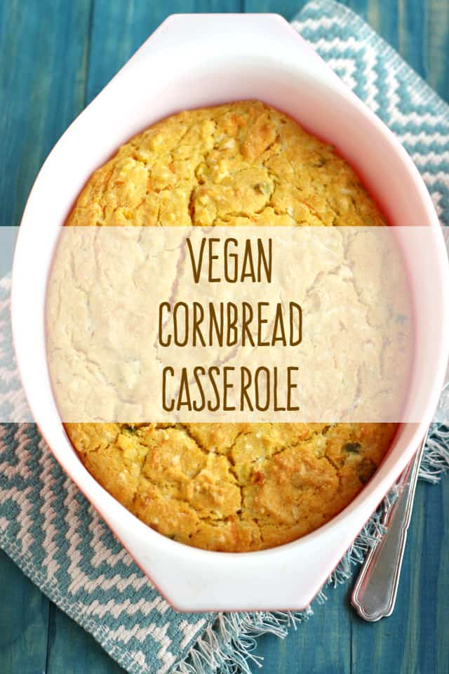Vegan cheesy cornbread casserole recipe.