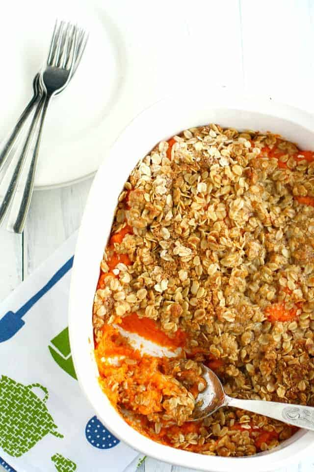 Buttery sweet potatoes and a crunchy topping make this a family favorite. This vegan and nut free sweet potato casserole is sure to be a hit this Thanksgiving!