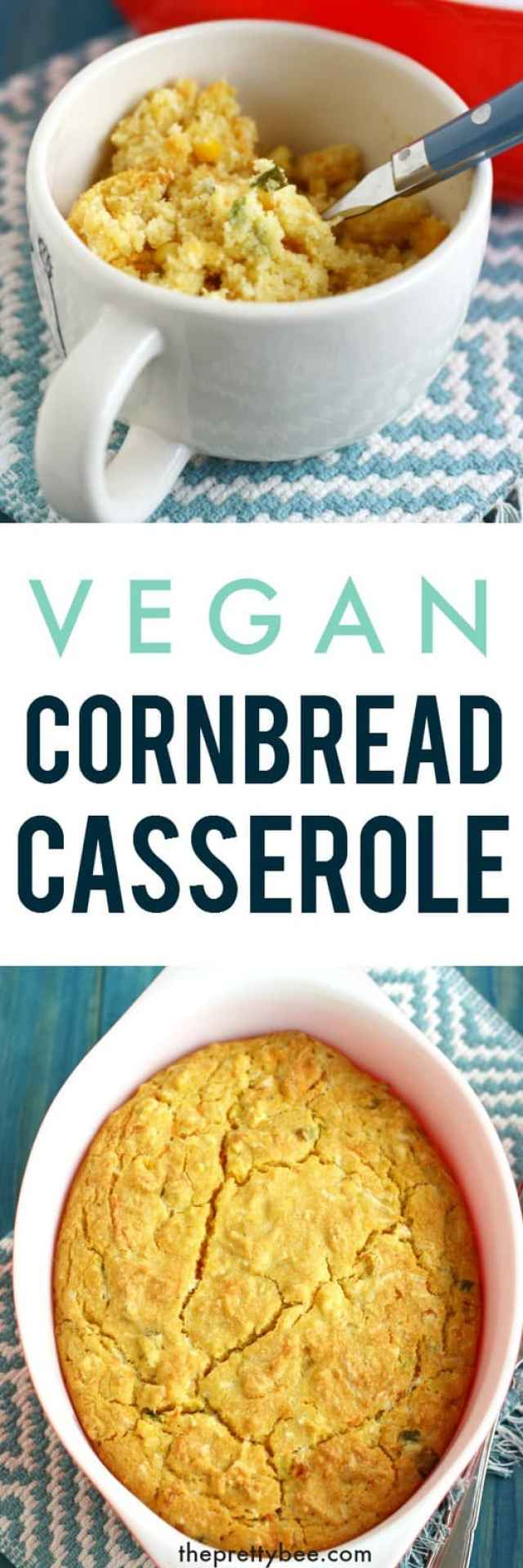 Perfectly delicious vegan cornbread casserole is a must for your next holiday meal or potluck dinner!