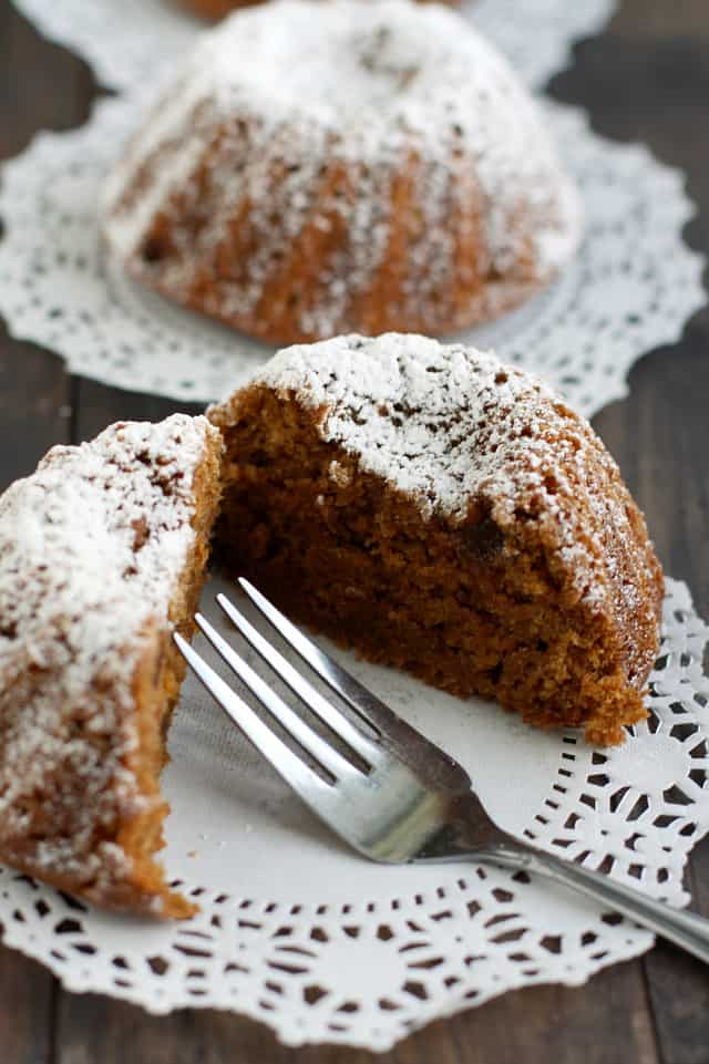 A deliciously spicy gingerbread mini bundt cake makes the perfect holiday dessert! #gingerbread