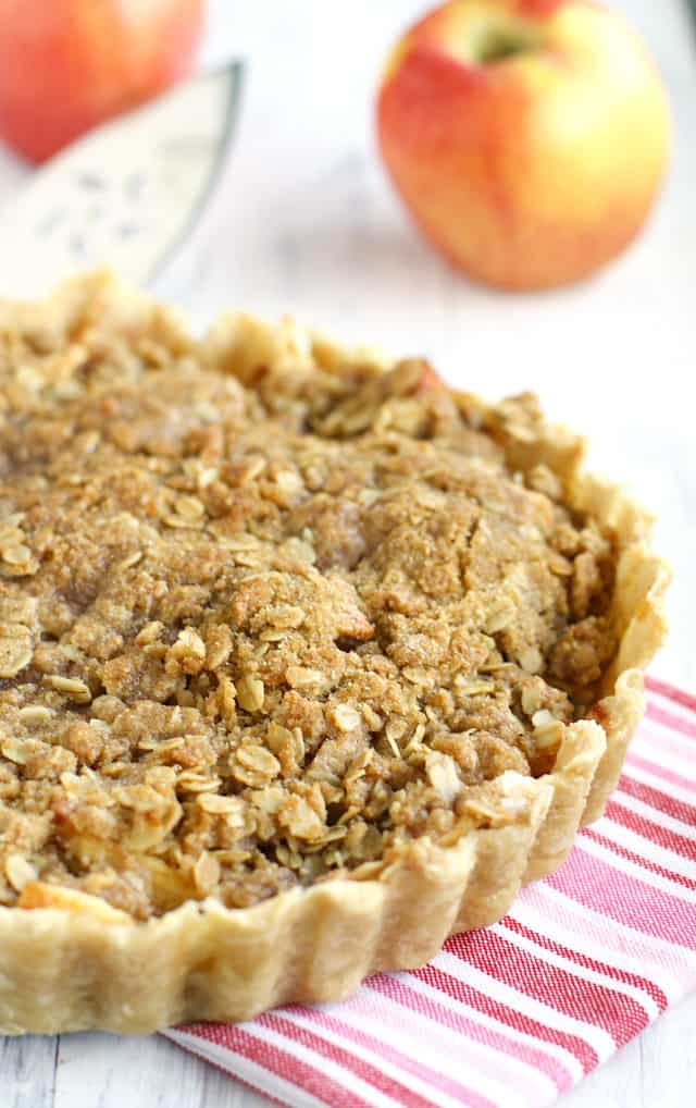 This Ambrosia apple crumble tart is made with a buttery topping and is a delicious dessert for the holidays! #iloveambrosia