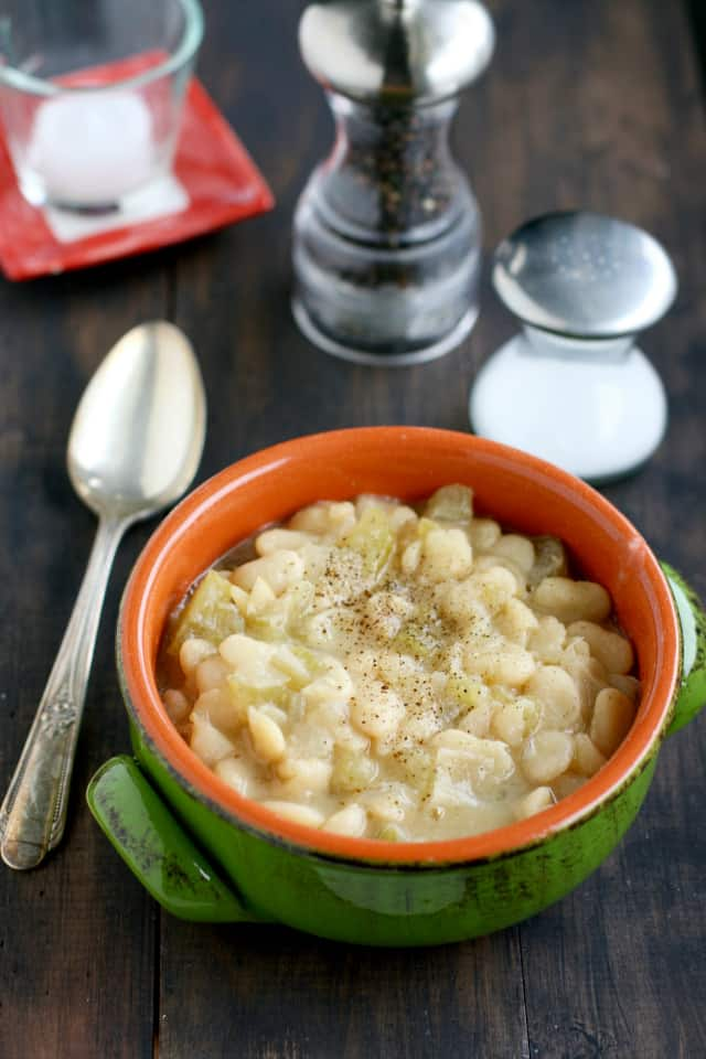 A simple, tasty, and healthy crockpot bean soup.