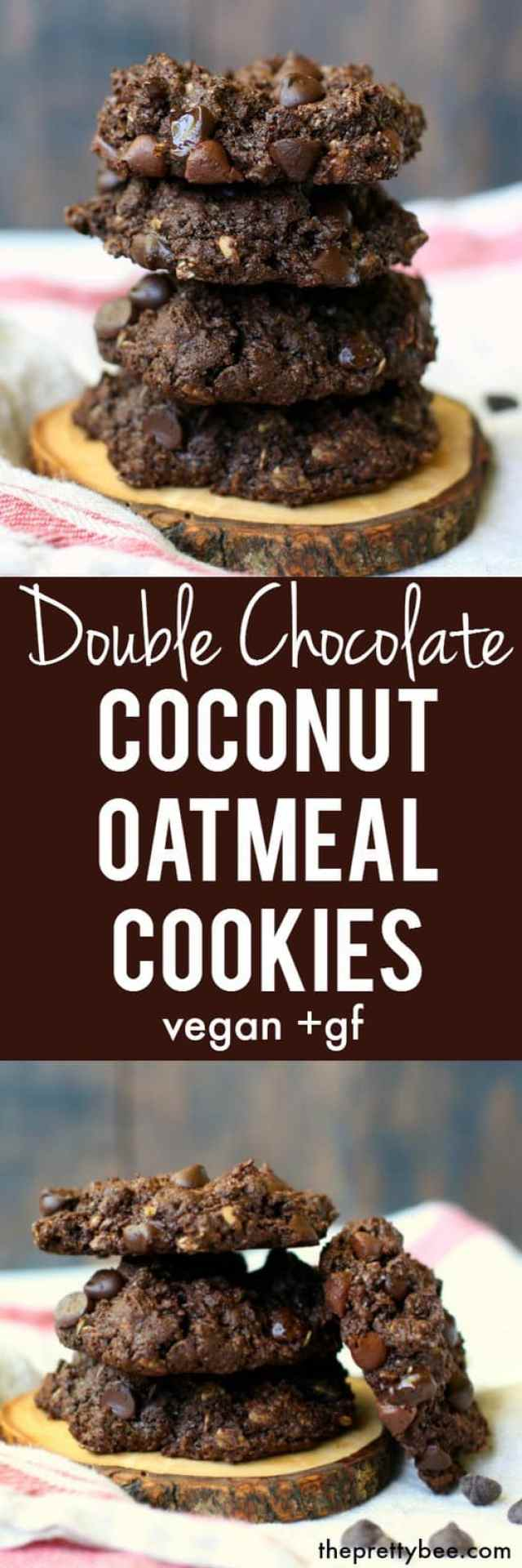 Thick and chewy gluten free double chocolate coconut oatmeal cookies are a delicious and decadent treat!