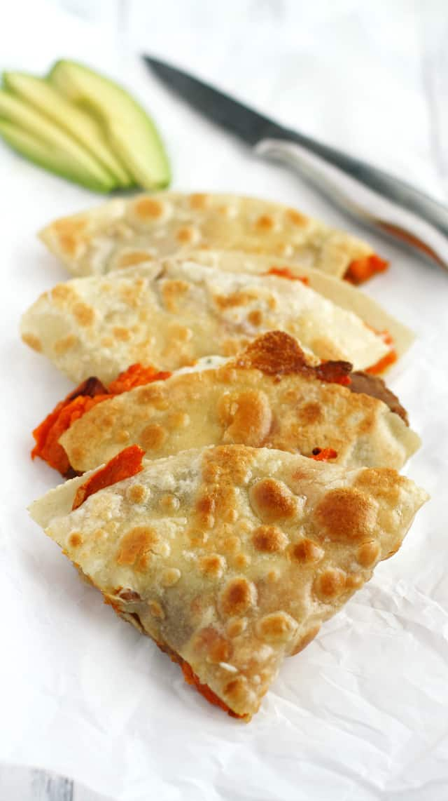 Delicious, cheesy, crispy quesadillas with roasted sweet potatoes and beans.