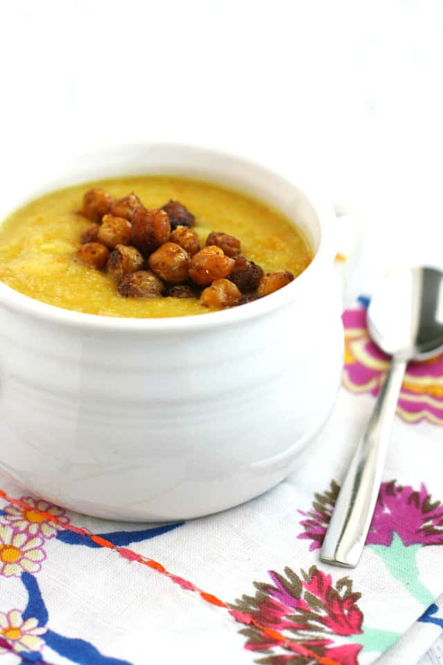 This healthy cauliflower carrot soup is dairy free! Creamy, flavorful, and topped with roasted chickpeas for extra protein,