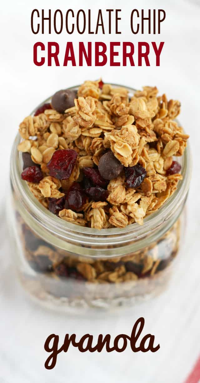 It's so easy to make delicious and healthy homemade granola! This version is delicious and filled with cranberries and chocoalte chips. Nut free. #glutenfree