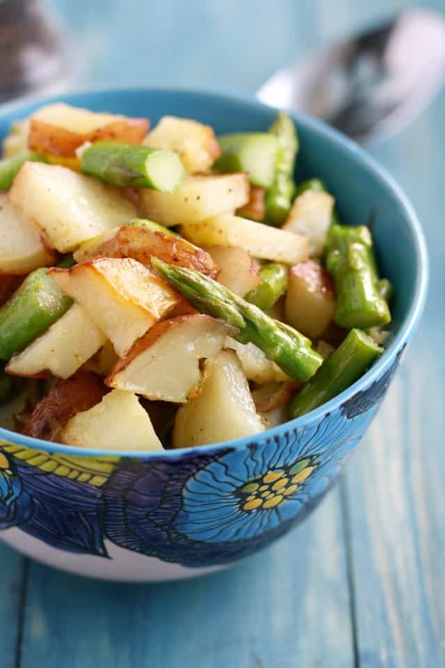 The BEST roasted potato salad - easy to make and so flavorful with a Dijon mustard dressing. #vegetarian #glutenfree