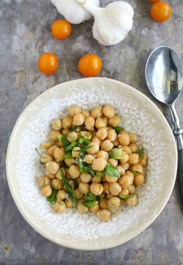 Simple, healthy, and fresh garlic dill chickpea salad. A really easy dish to make this summer! #vegan #glutenfree #salad