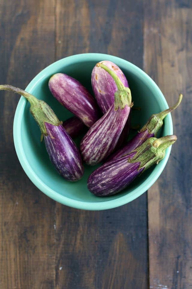 Teeny eggplant are delicious in this easy #glutenfree stir fry!