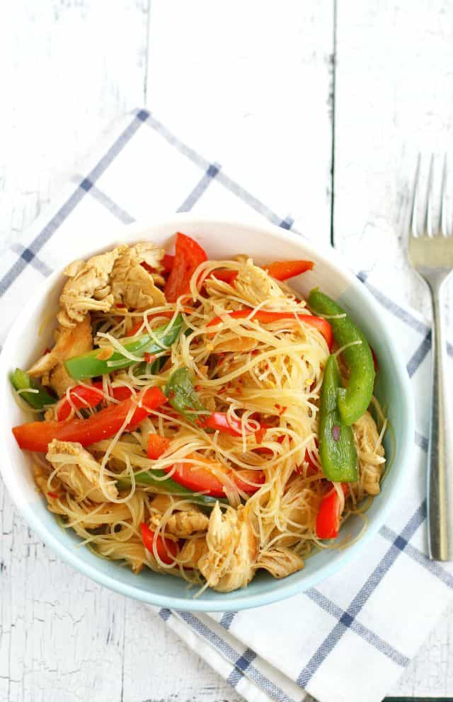 Chicken Teriyaki Rice Noodles. - The Pretty Bee