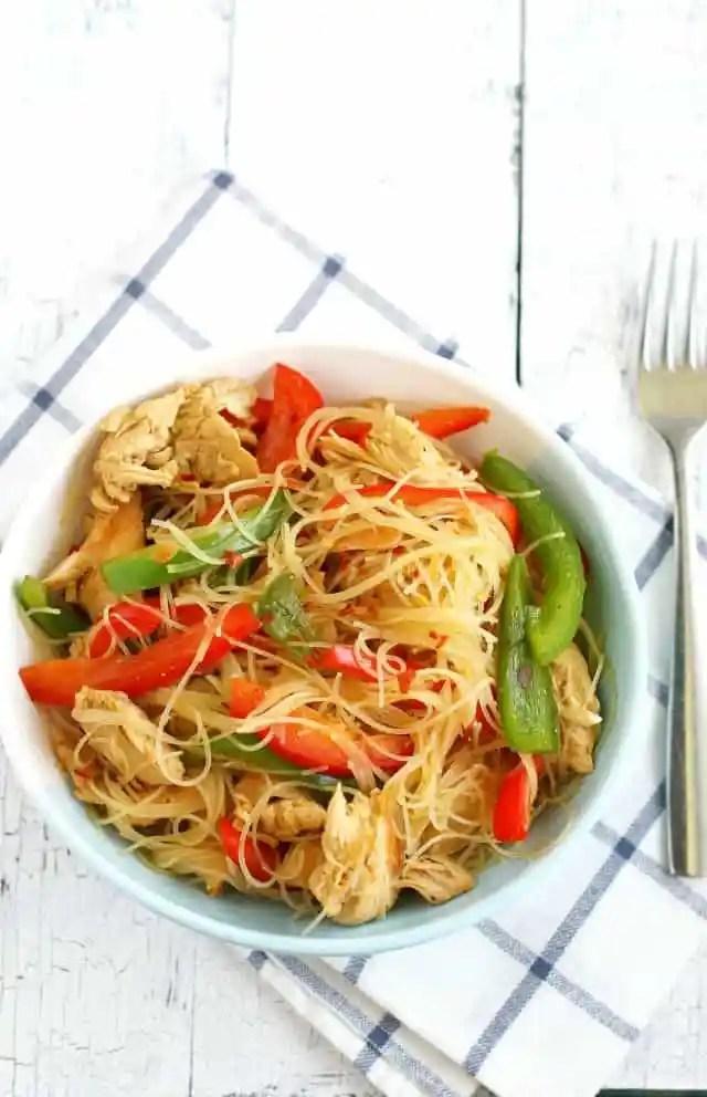 chicken teriyaki rice noodles