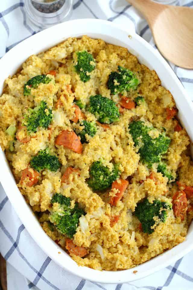 gluten free cheesy broccoli quinoa sausage casserole