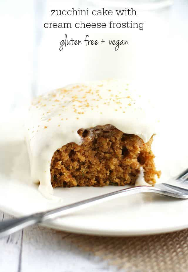 Easy and delicious gluten free and vegan zucchini cake reicpe. This spiced cake is delicious with a cream cheese frosting!