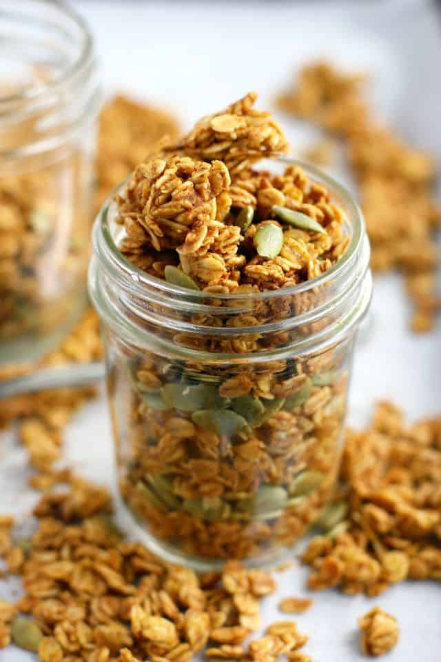 It's fall, and it's time for pumpkin spiced everything! This pumpkin spice granola is so easy to make and is a great start to the day!